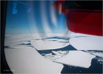 Picture taken from a survey plane, showing broken ice sheets.